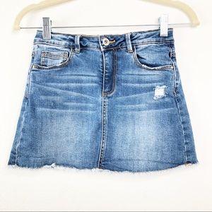 Zara Kids Denim Distressed Mini Skirt